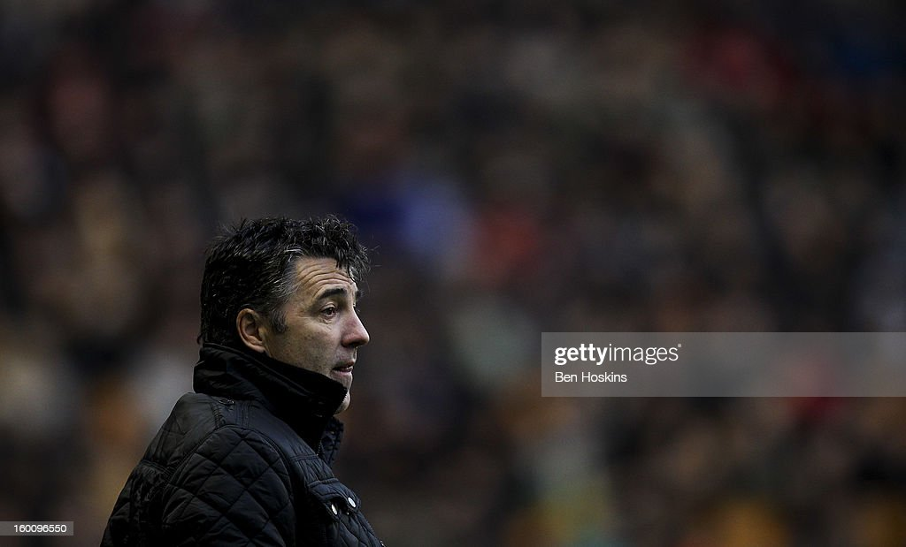 Wolves manager Dean Saunders looks on during the npower Championship match between Wolverhampton Wanderers and Blackpool at Molineux on January 26, 2013 in Wolverhampton, England.