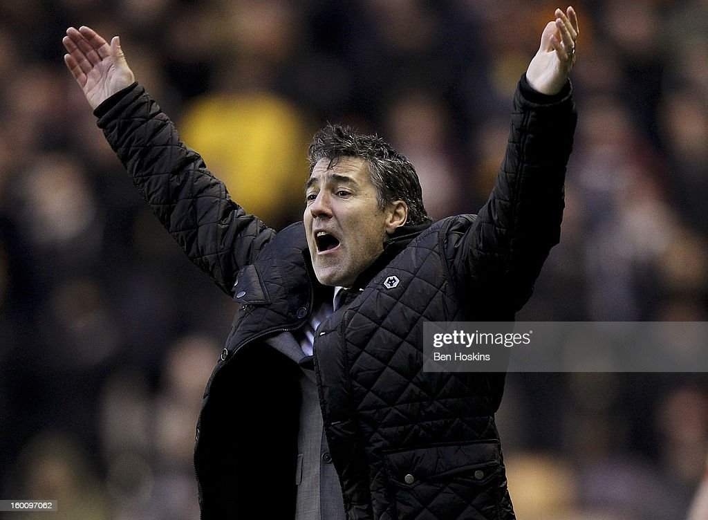 Wolves manager Dean Saunders reacts during the npower Championship match between Wolverhampton Wanderers and Blackpool at Molineux on January 24, 2013 in Wolverhampton, England.