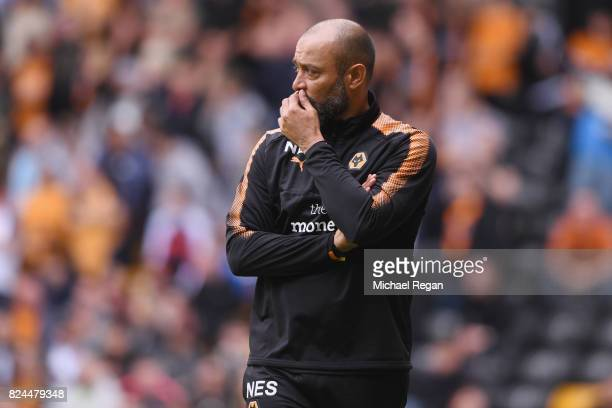 Wolves manager Nuno Espírito Santo looks on during the preseason friendly match between Wolverhampton Wanderers and Leicester City at Molineux on...
