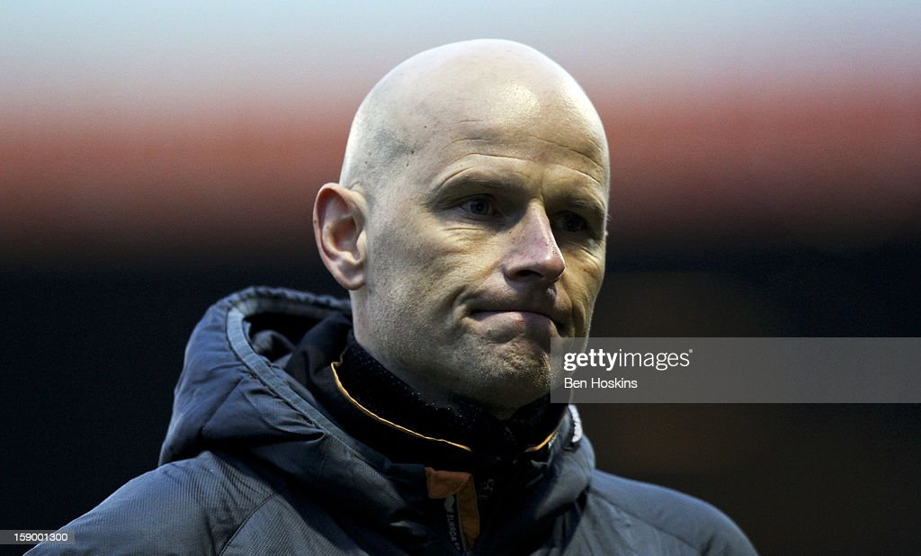 Wolves manager <a gi-track='captionPersonalityLinkClicked' href=/galleries/search?phrase=Stale+Solbakken&family=editorial&specificpeople=2726325 ng-click='$event.stopPropagation()'>Stale Solbakken</a> looks on during the FA Cup with Budweiser Third Round match between Luton Town and Wolverhampton Wanderers at Kenilworth Road on January 5, 2013 in Luton, England.