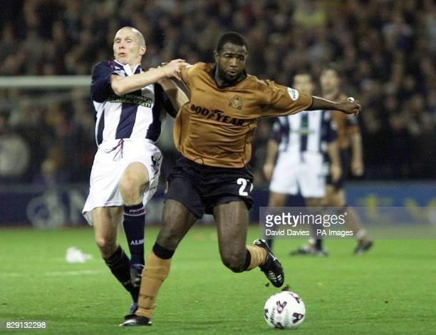 Wolves' Nathan Blake holds off Michael Appleton during the Nationwide Division One game between West bromwich Albion and Wolverhampton Wanderers at...