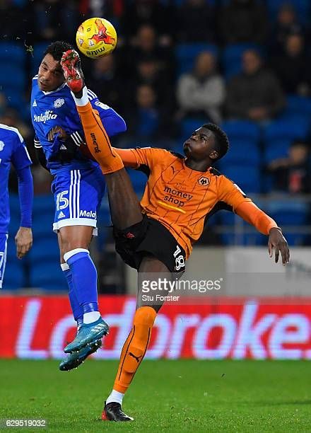Wolves player Dominic Iorfa challenges Kieran Richardson of Cardiff during the Sky Bet Championship match between Cardiff City and Wolverhampton...