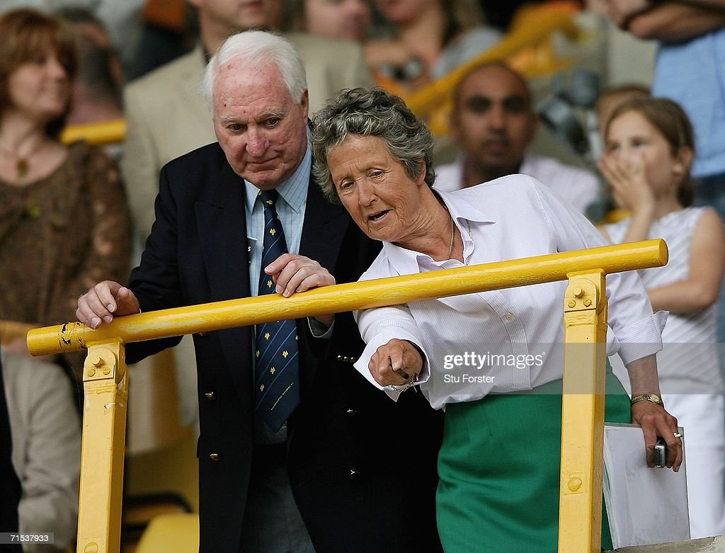 Wolves President Sir Jack Haywood (l) and director Rachael Heyhoe-Flint watch the teams come out during the Pre-season friendly match between Wolverhampton Wanderers and Aston Villa at Molineux on July 29, 2006 in Wolverhampton, England.