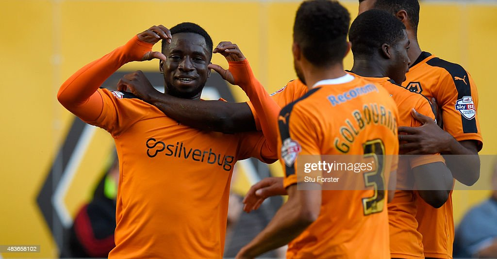 Wolves striker Nouha Dicko celebrates after scoring the first Wolves goal during the Capital One Cup First Round match between Wolverhampton...