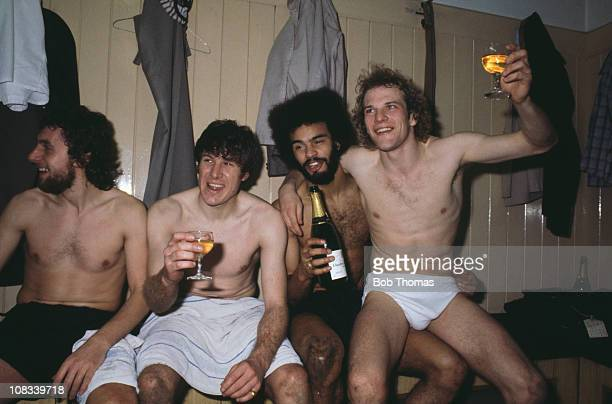 Wolves team members Peter Daniel Emlyn Hughes George Berry and ndy Gray celebrate their victory over Swindon in the second leg of the League Cup semi...