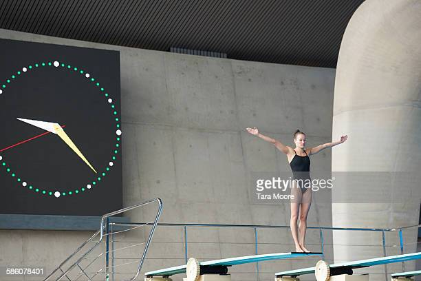 woman about to high dive