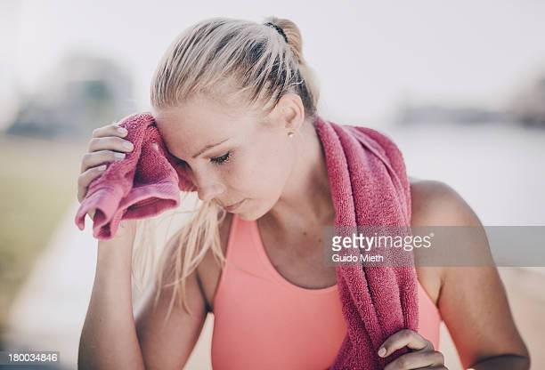Woman after workout outdoor.