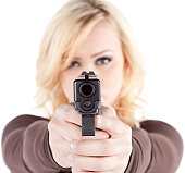 Woman aiming gun