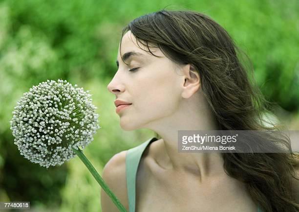 Woman and allium flower