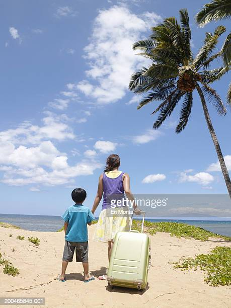 Woman and boy (4-6) walking toward on beach with suitcase, rear view