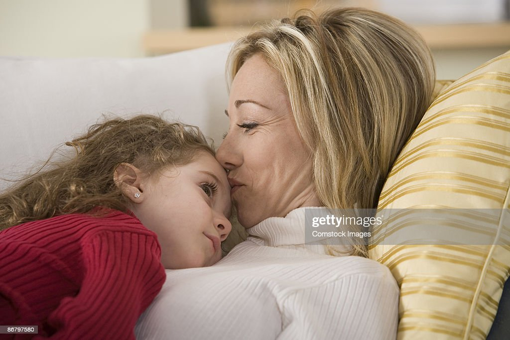 Woman and child relaxing : Stock Photo