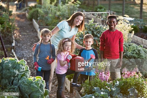 Woman and children at community garden : Stock Photo