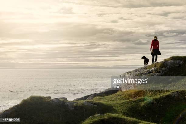 Woman and Dog at Kvalvik Bay