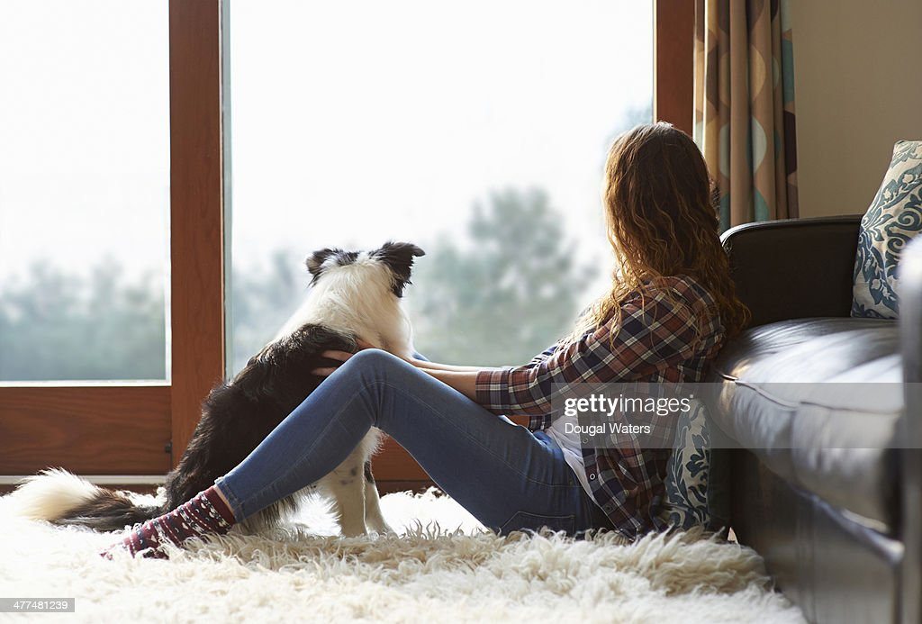 Woman and dog looking out of window. : Stock Photo