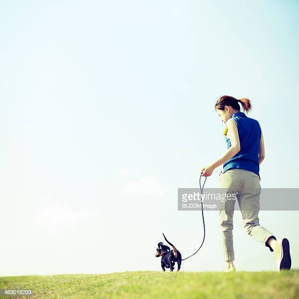 Woman And Dog Walking In The Park