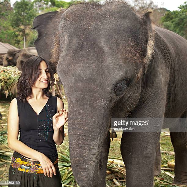 Woman and Elephants