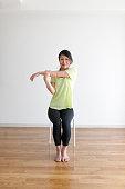woman and flexible gymnastics