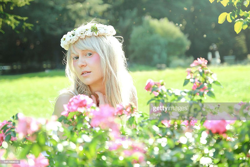 Woman and flower : Stock Photo