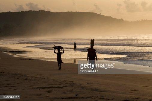 Woman and Girl on Busua Beach