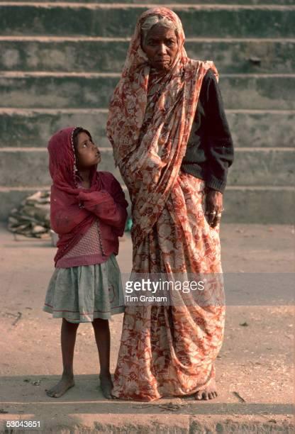 Woman and grandchild Delhi India