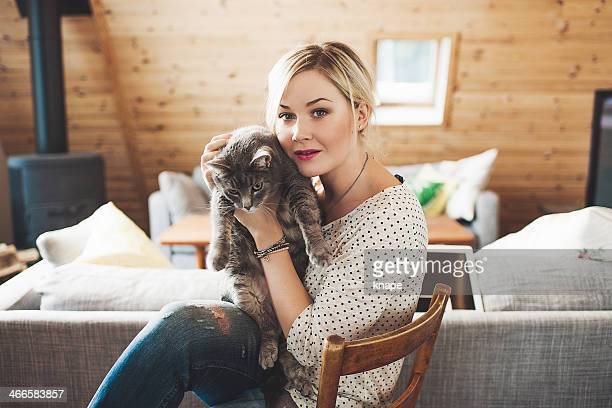 Woman and her cute cat