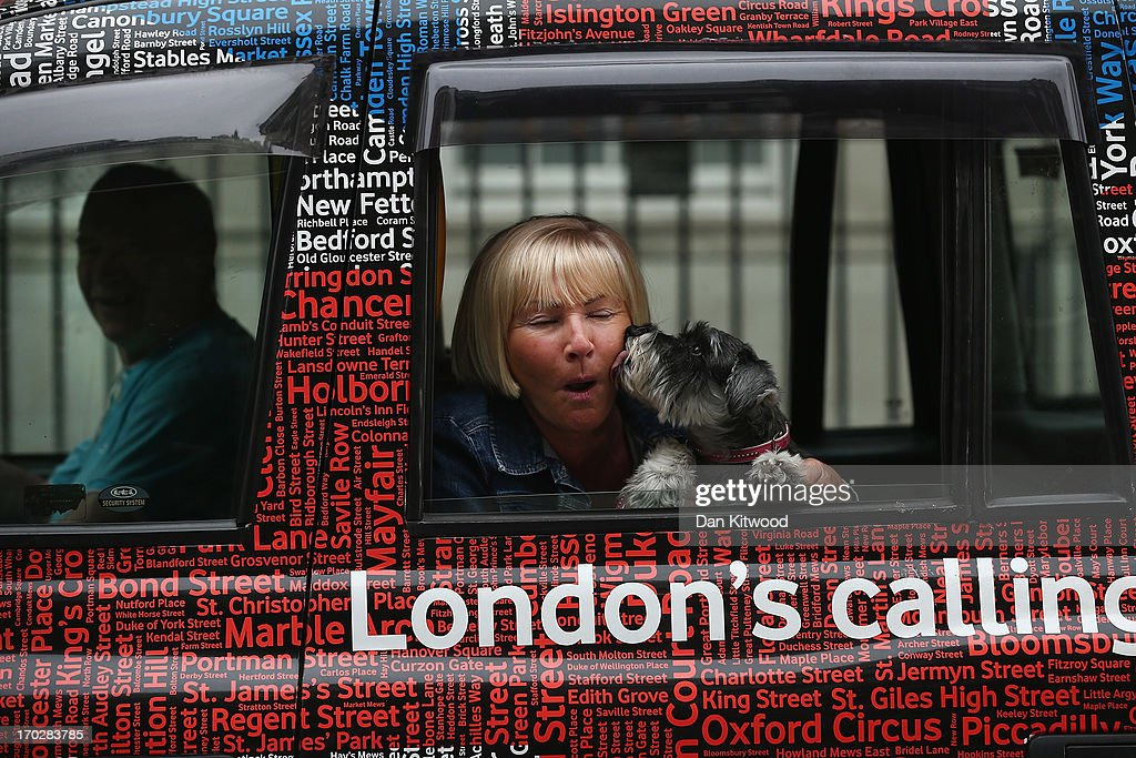 A woman and her dog lean out of a London taxi window to look at the gathered press outside The London Clinic on June 10, 2013 in London, England.