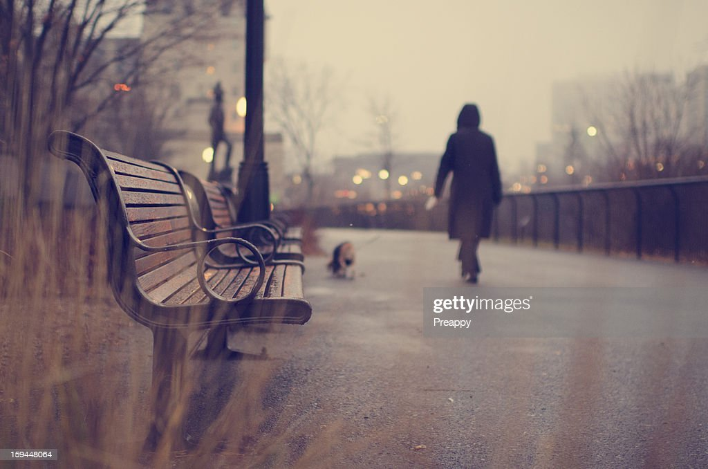 A woman and her dog walking in the rain : Stock Photo
