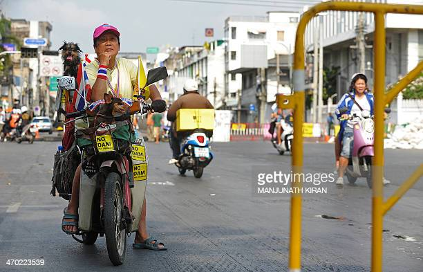 A woman and her pets on a motorcycle wait for a traffic block to clear near Ratchadamnoen Junction in Bangkok on February 19 2014 as a convoy of...