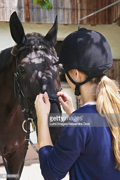 Woman and Horse, Baden Wuerttemberg, Germany, Europe
