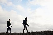 Woman and man hiking