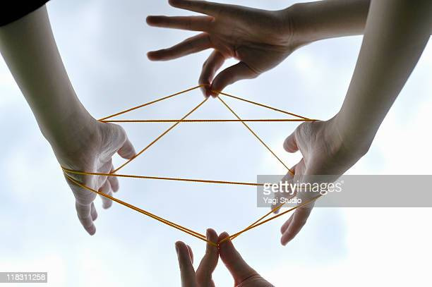 Woman and man playing cat's cradle,close-up of the