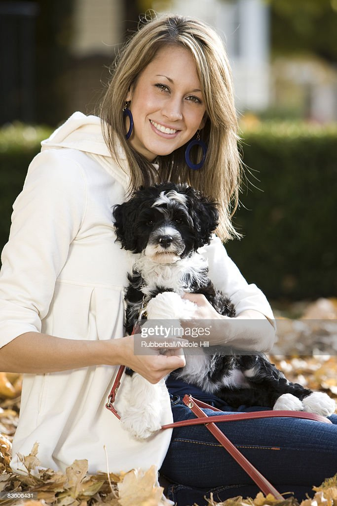 woman and puppy : Stock Photo