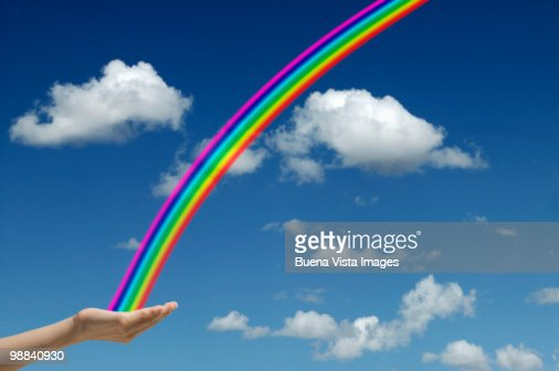 Woman and rainbow : Foto de stock