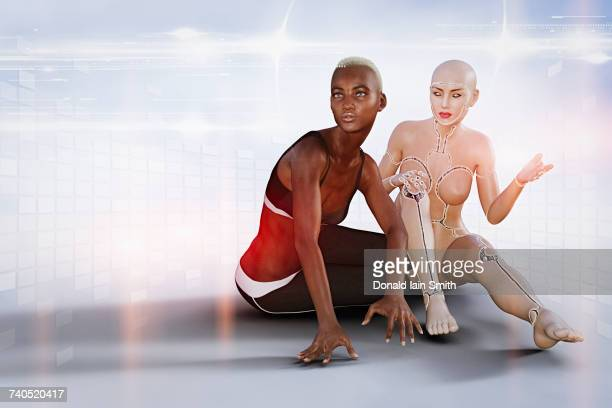 Woman and robot sitting near virtual grid