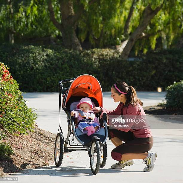 Woman and stroller