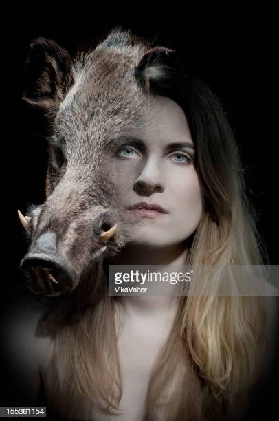 Femme et les porcs