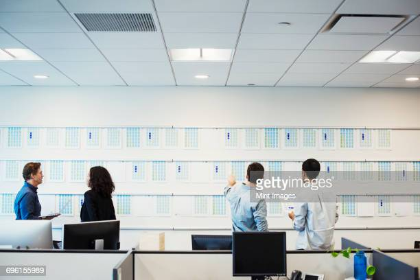A woman and three men standing in an office looking at a display on a wall, seen from behind.