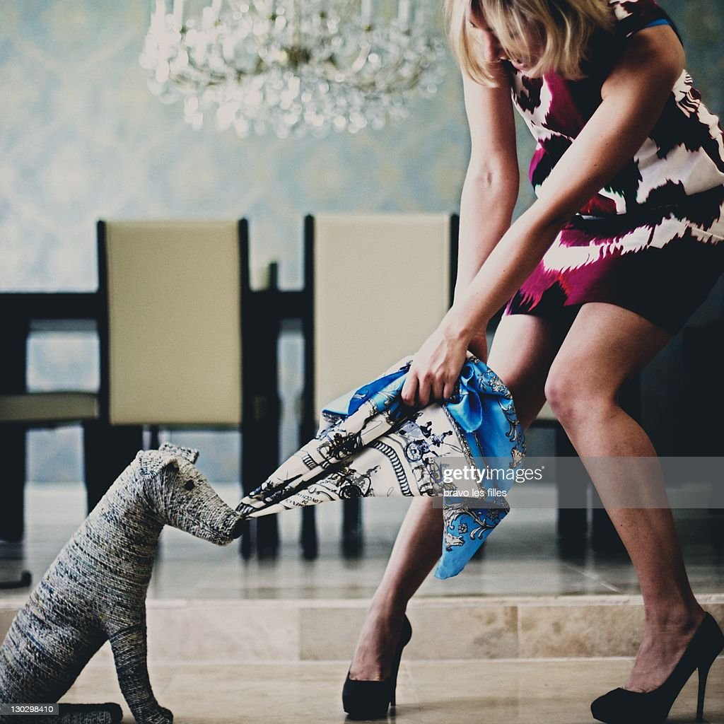 Woman and toy dog : Stock Photo