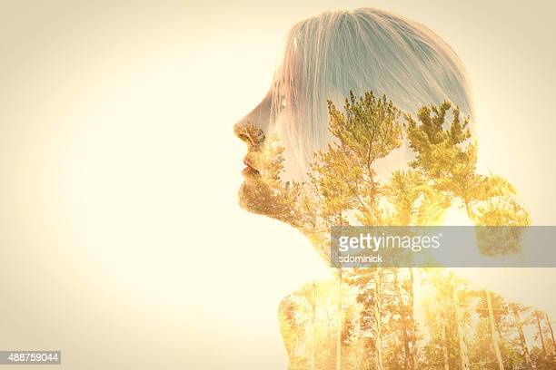 Woman And Trees Double Exposure
