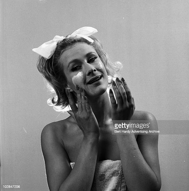 A woman applying face cream Bickley Kent 15th May 1962