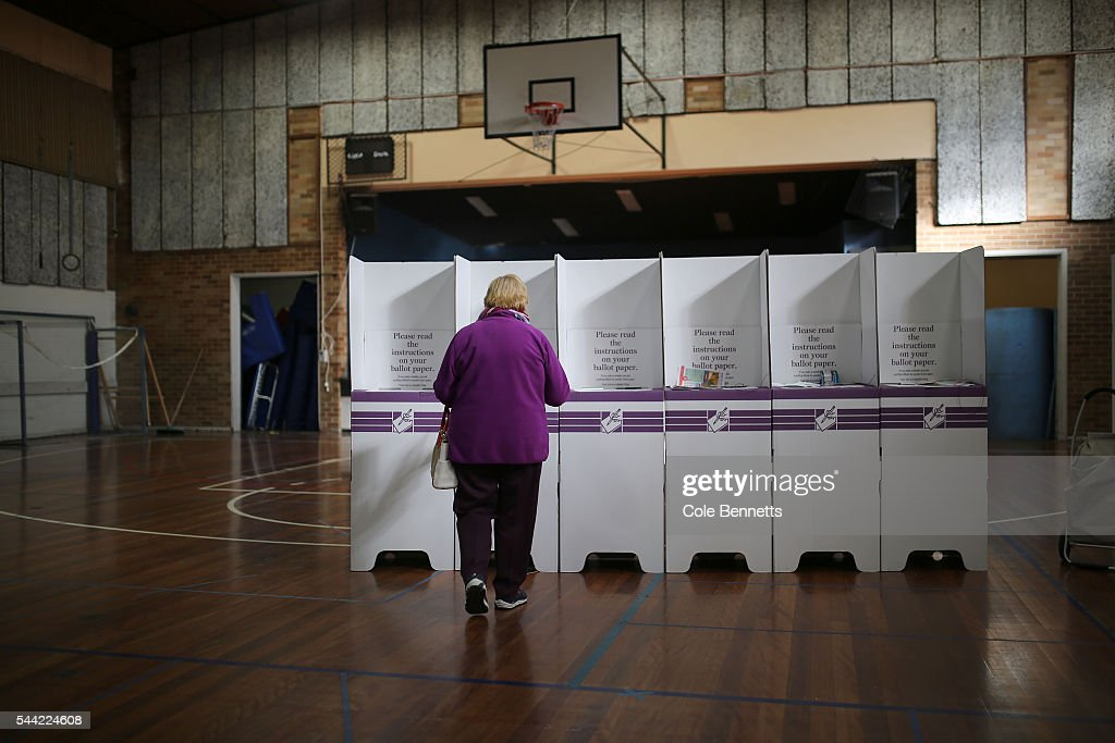 A woman approaches the voting booths at the Penrith PCWC in the electorate of Lindsay on July 2, 2016 in Penrith, Australia. Voters head to the polls today to elect the 45th parliament of Australia.