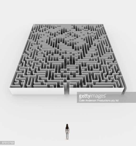 Woman approaching maze