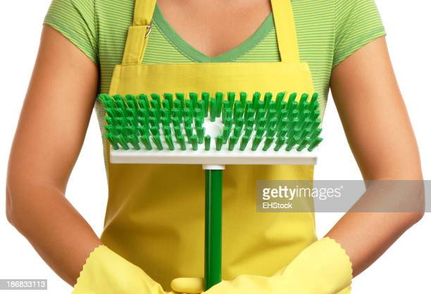 Woman Apron Rubber Gloves with Green Scrub Brush on White