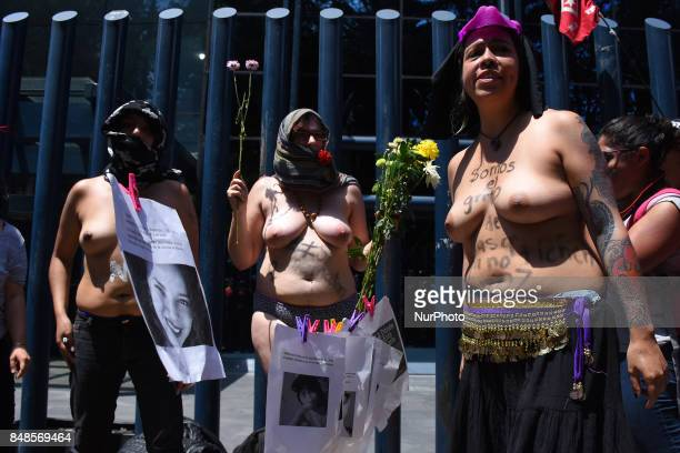Woman are seen during a march protest outside of PGR against of feminicides and recent murder of the student Mara Castilla on September 17 2017 in...