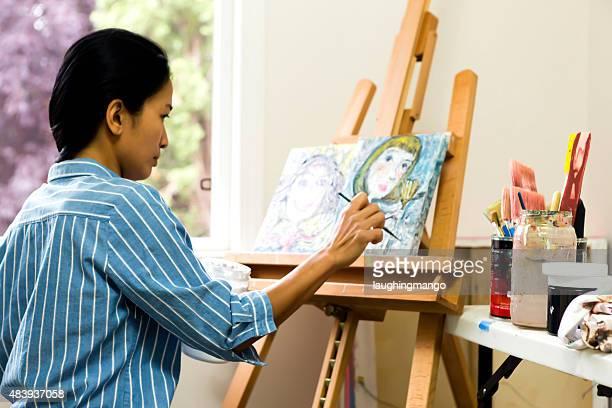 Woman Artist Painting de aceite