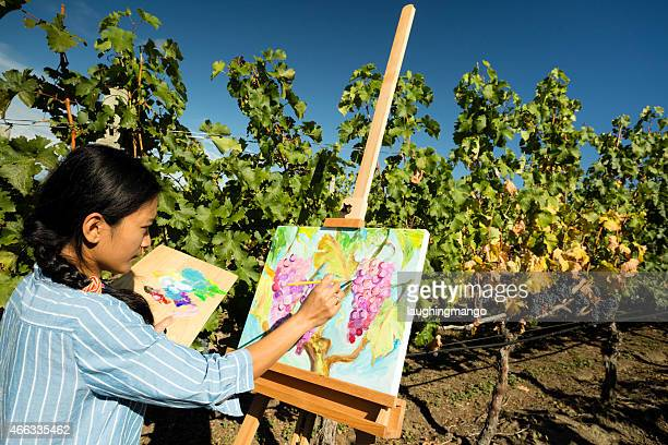 Frau Künstler Ölmalerei Vineyard
