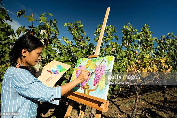 Woman Artist Oil Painting Vineyard
