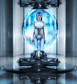 Woman as android standing in orb