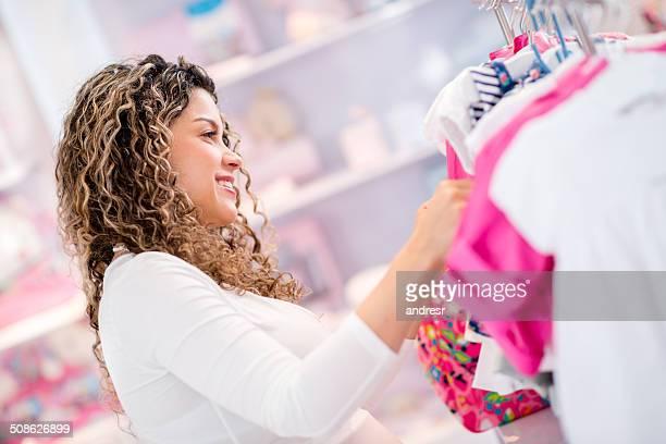 Woman at a baby shop