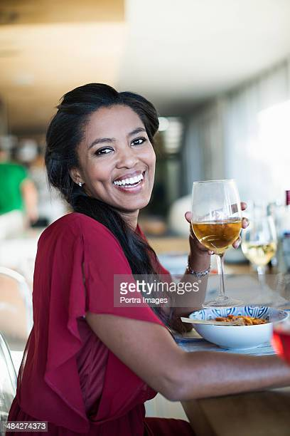 Woman at a dinner party